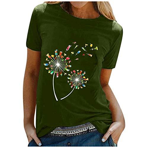 Zshosam T-Shirt Damen Sommer Oberteile Löwenzahn Blumen Drucken Kurzarm Tee Tops Casual Rundhals Shirt Hemd Bluse Female Teenager Mädchen