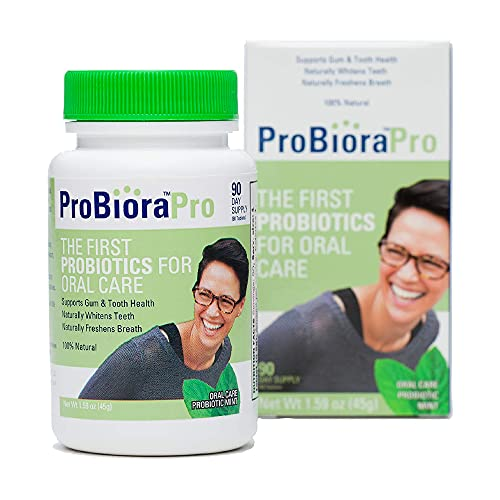 ProBioraPro Oral Probiotic Mints | Supports Healthy Teeth & Gums | Freshens Breath | Gently Whitens Teeth | ProBiora3 Technology with 3 Probiotic Strains Native to The Mouth | 90 Day Supply (90g)