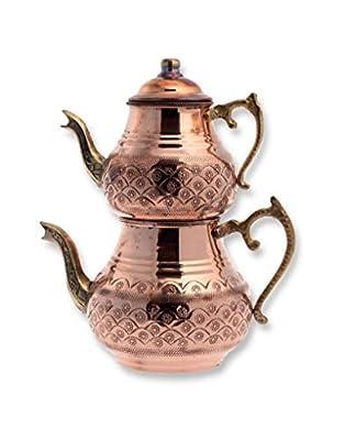 Théière traditionnelle turque faite à la main martelée