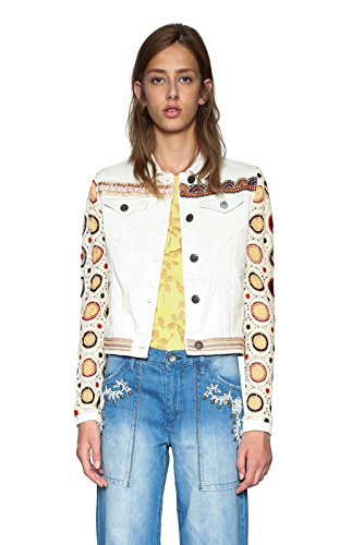 Desigual Chaq_Kenya Giacca, Bianco (Jeans White 1030), 38 Donna