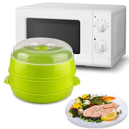 MovilCom® - Arrocera 2 niveles Microvap | cocinar al vapor | vaporera microondas - verde