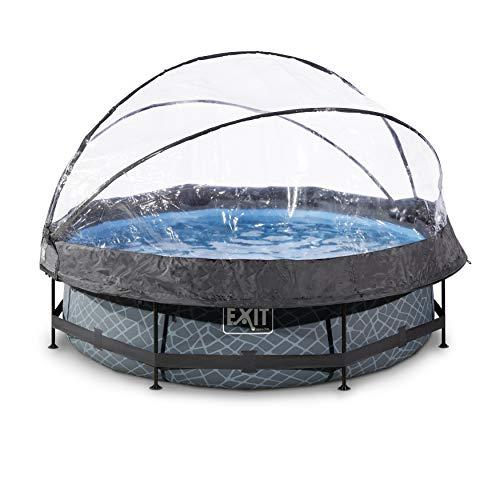 EXIT Stone Pool ø300x76cm mit Abdeckung und Filterpumpe - grau