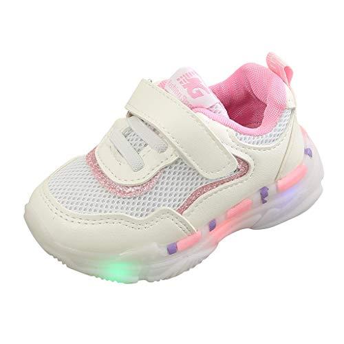 Dorical Unisex Babyschuhe Kleinkind Kinder Baby Schuhe mit Licht LED Leuchtschuhe Weiß Turnschuhe Blinkende Sneaker 21-30 Sportschuhe(Rosa-2,21 EU)
