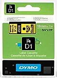 Dymo D1 - Cinta laminada para etiquetas, plástico, 7 m x 19 mm, color negro y amarillo
