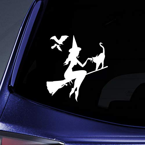 "Bargain Max Decals Halloween Witch Silhouette Sticker Decal Notebook Car Laptop 5.5"" (White)"