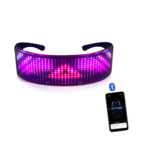JinYiny LED Bluetooth Brille Vollfarbig Anpassbare LED-Anzeige Smart Brille mit APP Connected Control, LED Glühbrille für Raves, Geburtstag, Bar, Feier, Light Up Glasses Party