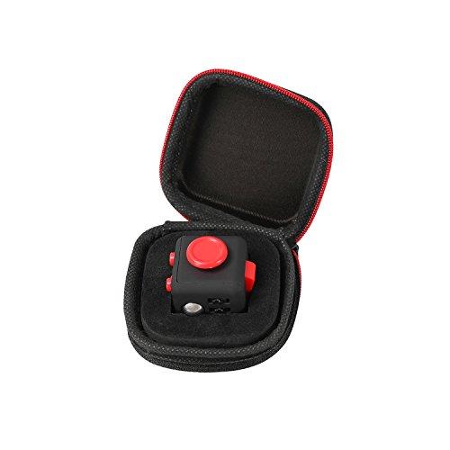 Fidget Cube mit Hülle Schreibtisch-Spielzeug Klicker Joystick-Tasten zum Stressabbau, bei Angst, zum Konzentrieren ADHD Autismus Erwachsene Kinder Studenten Büro Geschenk, 11?Black Red