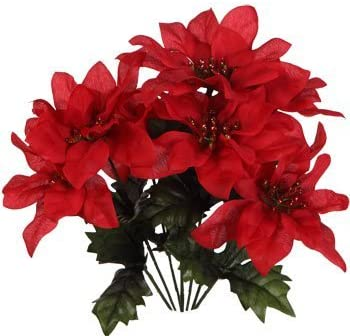 Pack of 4 Christmas House 7 stem Red Poinsettia Bushes with Glittered Accents 13 product image