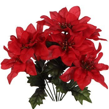 (Pack of 4) Christmas House 7-stem Red Poinsettia Bushes with Glittered Accents, 13'