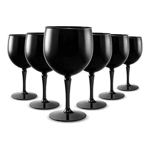 RB Copas Balon Gin Cóctel Negro Plástico Premium Irrompible Reutilizable 40cl, Set de 6
