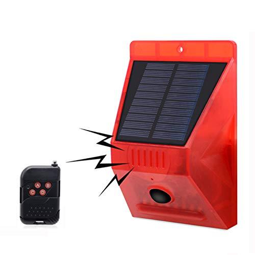 Lámpara de Alarma Solar con Control Remoto, KEEDA Sonido 129db Luz Estroboscópica del Sensor de Movimiento, Luces de Sirena de Seguridad para el Aire libre, Granja, Granero, Jardín