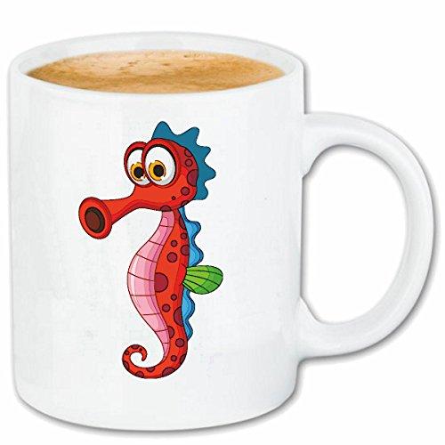 Reifen-Markt Kaffeetasse SÜSSE Seepferdchen MIT Langer Nase SEEPFERD Abzeichen SCHWIMMSCHULE SEESTERN FRÜHSCHWIMMERABZEICHEN Keramik 330 ml in Weiß