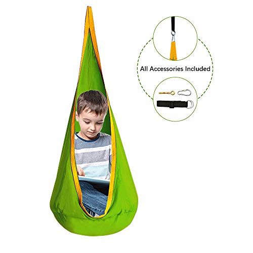 Cchainway Kids Pod Swing Seat 100% Cotton Child Hammock Chair for Indoor and Outdoor use(All Accessories Included)