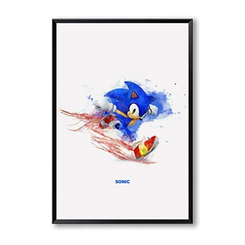 Eenvoudige Schilderij Splash Klassiek Spel Mario Sonic Cartoon Canvas Art Print Poster Foto Decoratie Home Decor30x40cmx1 unframed