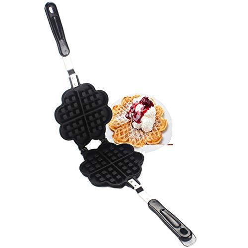 Piastra per Waffle Cuore Antiaderente Piastra per Cialde - Piastra Doppia per Waffle Induzione, Padella Waffle Maker Stampo con Manico Termoisolante (35 * 14 * 3cm)