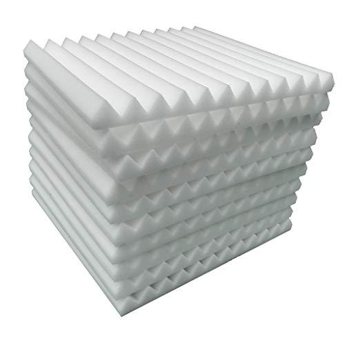BRISEZZ 10 Stücke Akustikschaumplatte Schalldämmung Schwamm Studio KTV Schalldicht Akustikplatten Schaumstoff Selbstklebend Wand Decke Design (Weiß)