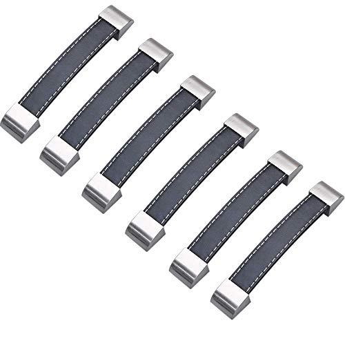 6pcs puerta tirador negro armario de puerta de piel con tirador y tirador de cajón (96 mm)