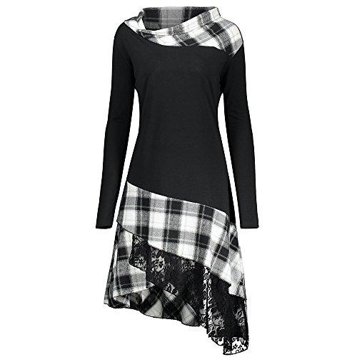 Vestido de Mujer Primavera Manga Larga Vestido de Cuadros y de Encaje en Color de Contraste (Blanco+Negro, XL)