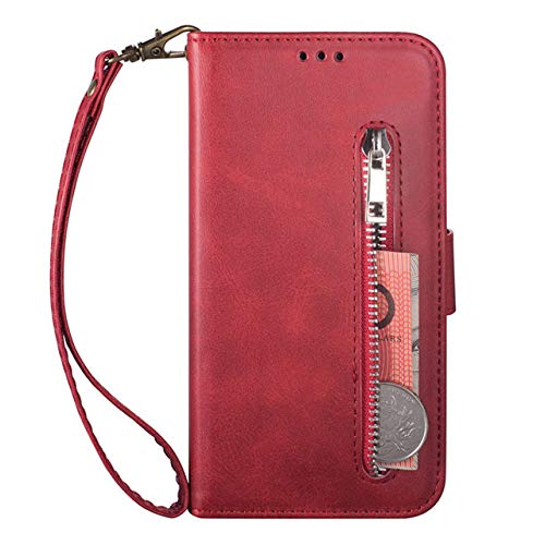 para iPhone 11, la funda para teléfono móvil es adecuada para iPhone 11 12 Pro Max XR XS MAX 6 6S 7 8 Plus X funda para teléfono con tapa, protección completa, caja con cremallera, rojo, iPhone X