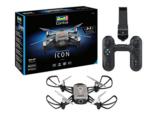 Revell Control 23825 RC camera-quadcopter ICON, 720p, 2,4 GHz afstandsbediening, ook via smartphone-app bestuurbaar, gezichtsherkenning op afstand bestuurde quadrokopter, grijs/zwart
