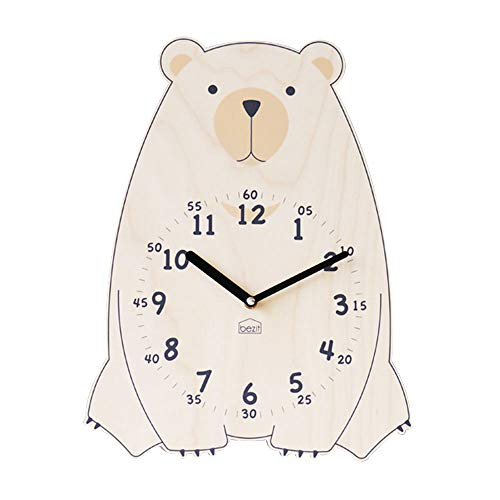 Silent Kids Wall Clock - Non-Ticking, Decorative, Cute Wooden Clock for Nursery, Children, Toddler, Baby Room, Battery Operated - Bear, Unicorn, Owl