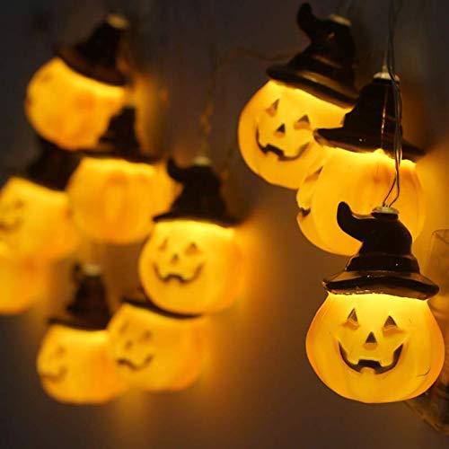 N/P AOLIAY 10 LED-Lichter zum Aufhängen, Halloween-Kürbis-LED-Lichterkette, Dekoration, Requisiten, Smiley, Kürbis-Laterne, Geist, Festival, Verkleiden