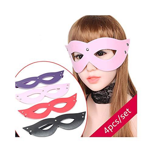 QISON 4 Farben 4PCS / Set Leder Augenklappe Mysterious Eyeshade
