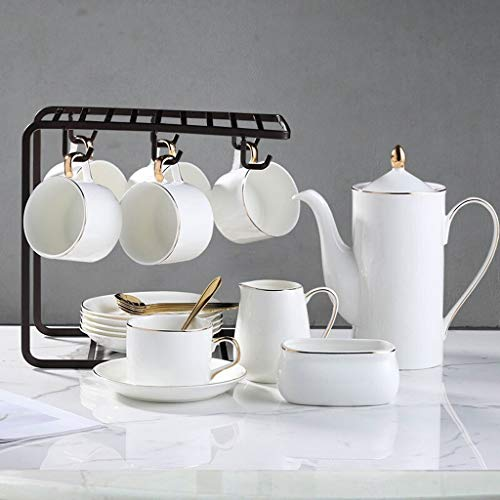 Coffee/Tea Cup Ceramic Coffee Cups, 6 Oz (about 150ml) Cups And Saucers, 6 Spoons, 1 Coffee Pot, 1 Milk Jug, 1 Sugar Bowl, With Coffee Rack, Suitable For Coffee, Afternoon Tea Party Cup & Saucer Sets