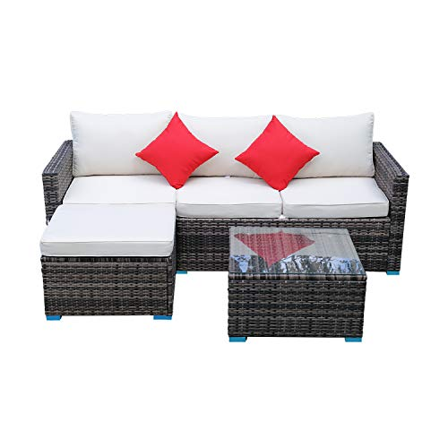 Panana Rattan Furniture Set 4 Seater Rattan Wicker Sectional Garden L-Shaped Sofa Set with Coffee Table Patio Conversation Outdoor Mixed Brown