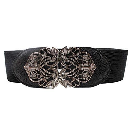 Longra Neu Mode Zubehör Legierung Blume Jahrgang Ledergürtel Trägern für Frauen (One size, Schwarz)
