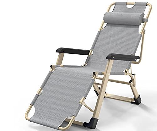 LVLUOKJ Tumbona Silla de Gravedad Cero, sillón Ajustable portátil Relax Tumbona de jardín, Tumbona Plegable reclinable y Ligera (Color : Gray)