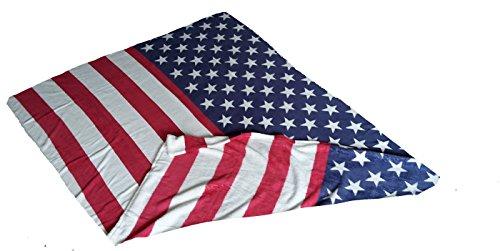 Kuscheldecke Wohndecke Überwurf Mikrofaser Coral Fleece USA Flage Sterne Navy 150x200