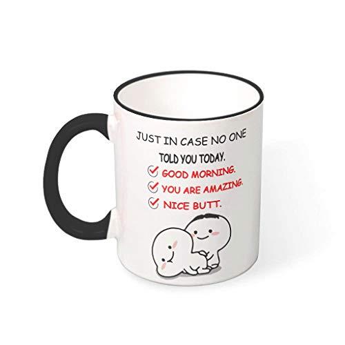 Taza de té con asa de porcelana para el día de San Valentín, con diseño de niña y mujer, apta para uso familiar, color negro, 330 ml