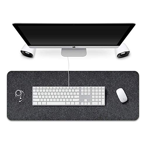 """Extended Gaming Mouse Pad,Corey-z Non-slip Rubber Base Big Mousepad with Soft Felt Cloth,Ergonomic Thick Keyboard Mat for Office,Home,Gamer,Writing (Black Gray, 31.3""""x11.8""""x0.12"""")"""