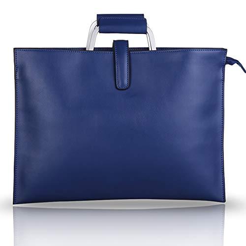 Ktong Maletín para Ordenador portátil para Mujer, Bolso de Mano para Ordenador portátil de 11,6 Pulgadas, Elegante maletín de Cuero para Ordenador con Hombro para Trabajo, Oficina de Negocios,Azul