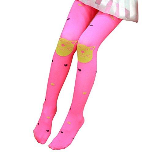 Fulltime® Les Filles D'Automne Collants Barbus Bas Chaussettes Leggings (Rose chaud)