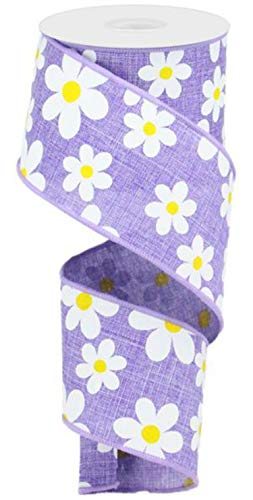 2.5' Flower Daisy Ribbon: Lavender (10 Yards) Summer Spring Floral Wired Ribbon RG0193513