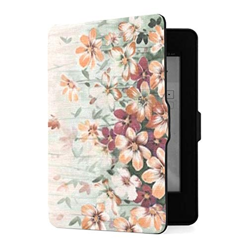 Kindle Paperwhite 1 2 3 Hülle, Amazing Fabric Halbtone Flowers Pu Ledertasche Hülle...