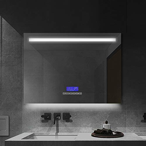 Janboe LED Badspiegel mit 6400K Beleuchtung 80x60cm Schminkspiegel Wandspiegel mit Anti Nebel, Bluetooth Lautsprecher, Touch-Schalter