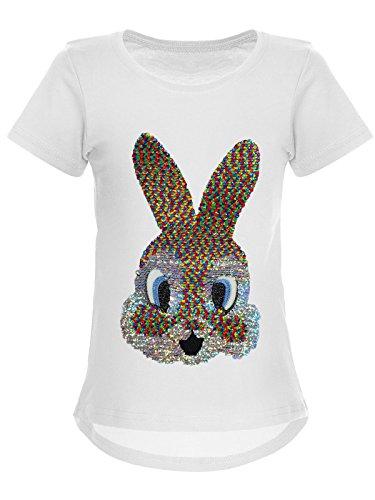 BEZLIT BEZLIT Mädchen Wende-Pailletten T-Shirt Hase-Motiv 22589 Weiß Größe 104