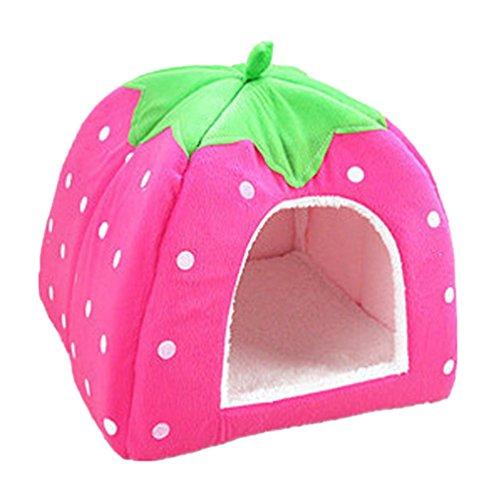 Yiiquan Haustiere Hundebett Premium Katzenhöhle Hundehütte Katzenbett Kuscheliger Erdbeere (Rosa, Asia L)