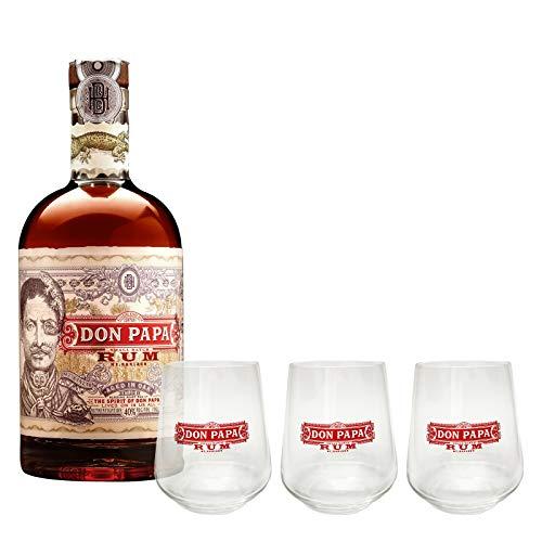 Geschenkeset Don Papa Rum 7 Jahre mit 40% vol.+3 Original Don Papa Gläser