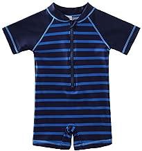 Wishere Baby Boy Girl Rash Guard Swimming Shirt, Blue Stripe, Size 0-3 Months