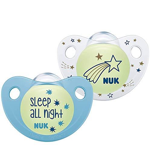 NUK Trendline Nacht-Set mit 2Schnullern für Jungen, Größe 2