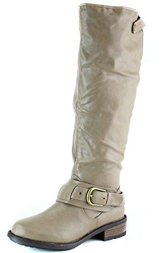 Qupid RELAX-39 Basic Casual Knee High Stacked Heel Buckle Riding Boot, Taupe Crinkle, 5.5