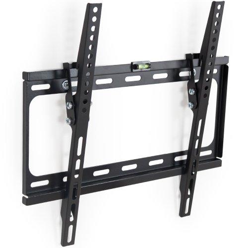 TecTake 400964 TV Flachbildschirm Wandhalterung, neigbar, passend für 66 cm (26 Zoll) bis 140 cm (55 Zoll) Diagonale, VESA max. 400x400, Wandabstand 2,5cm bis 60 kg, schwarz