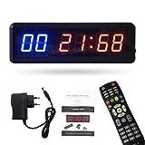 Festnight Temporizador de Gimnasio Cronómetro con Cuenta remota/Reloj Ascendente para Gimnasio en casa Reloj de Temporizador de intervalo de Entrenamiento físico con Soportes de Montaje en Pared