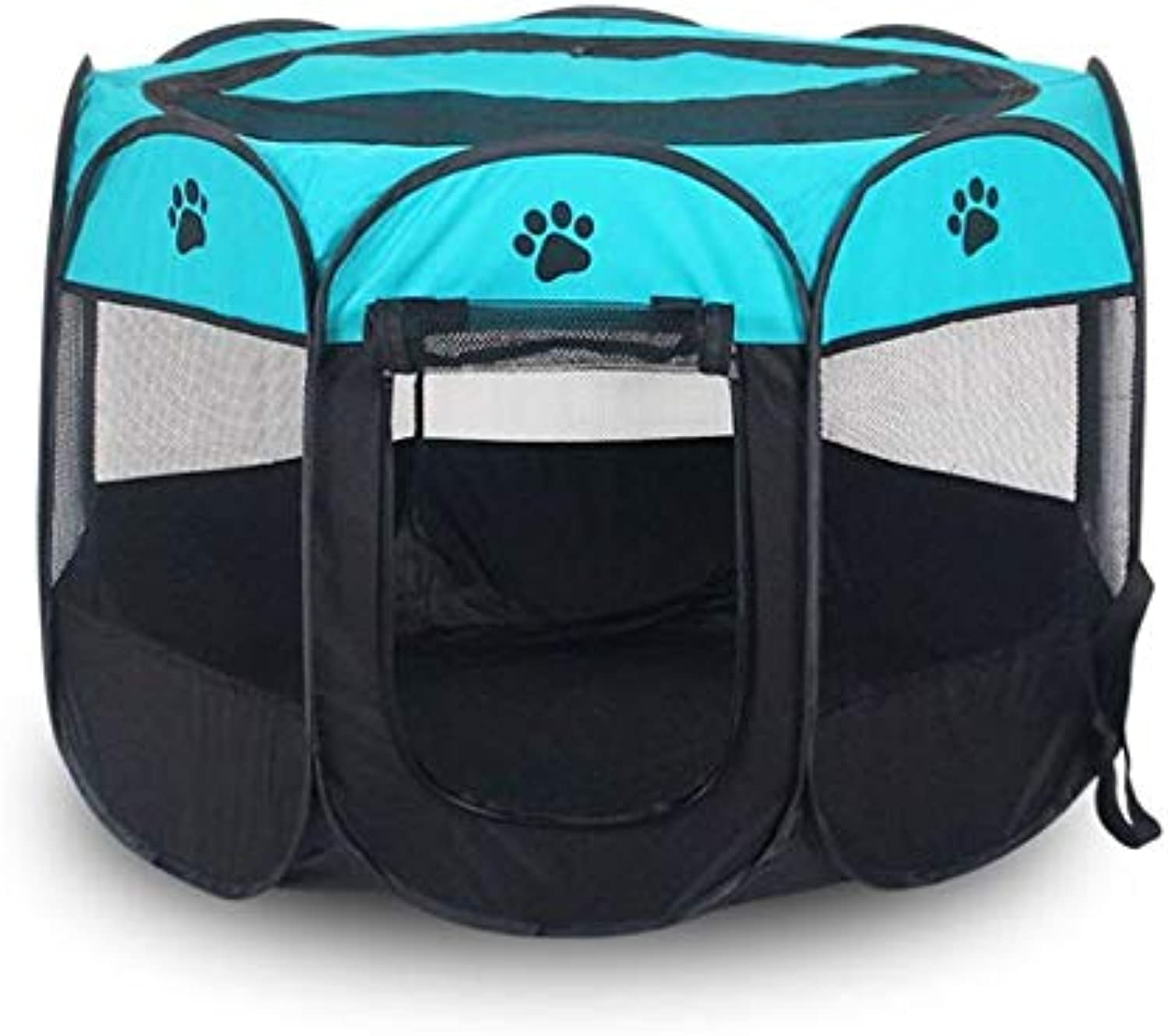 Foldable Pet Puppy Playpen, Portable Dog Cat Pet Tent Indoor Outdoor Use Pet Kennel Cage(bluee) (Size   S)