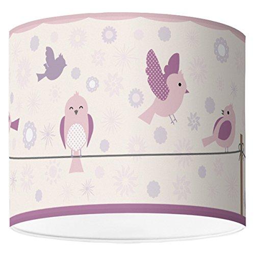 Lampenschirm für Babyzimmer von Hapytaly - Birds & Flowers Motiv für Baby- und Kinderlampen, Mädchen und Jungen – Ø50 cm - schöne Deckenlampe, Hängelampe, Tischleuchte oder Stehlampe