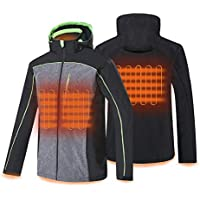 Conqueco Men's Heated Soft Shell Hoodie Jacket with Battery for Outdoors